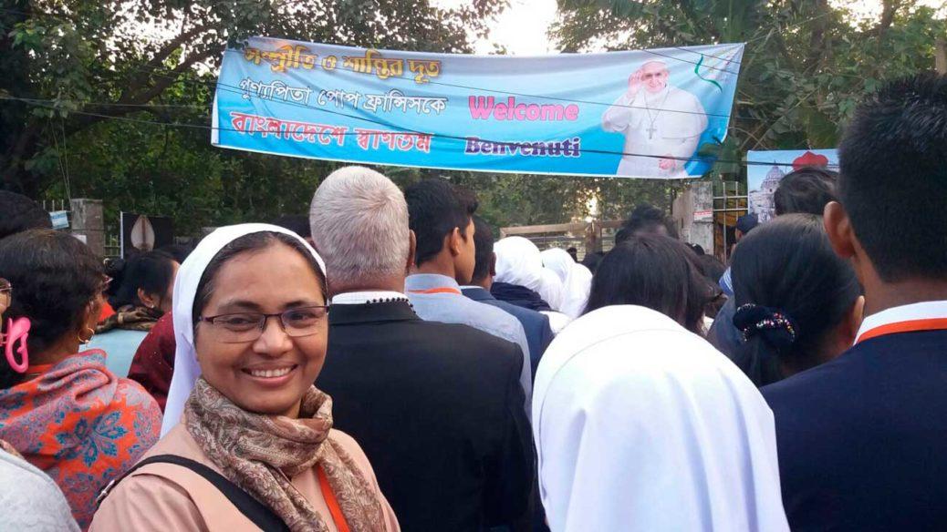 accoglienza del Papa in Bangladesh